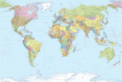 Vliesové fototapety, rozmer 368 x 248 cm, mapa sveta, KOMAR XXL4-038