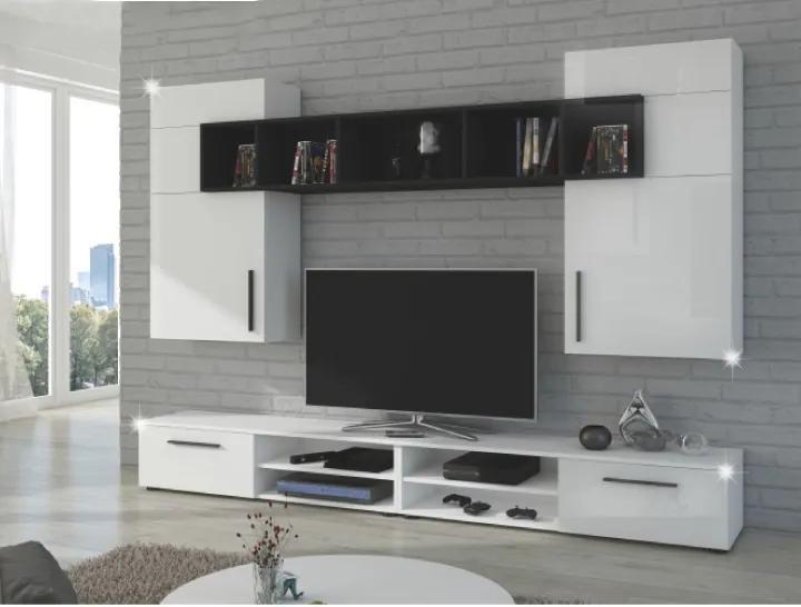 Obývacia stena, biela/čierna/biely lesk, BETIM