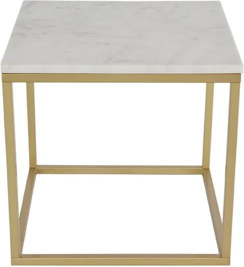 Mramorový konferenčný stolík s konštrukciou vo farbe mosadze RGE Accent, šírka 55 cm