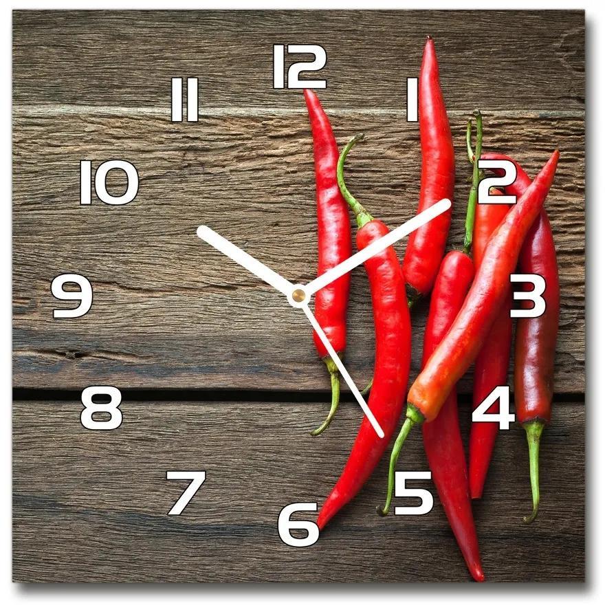Sklenené hodiny štvorec Chilli papričky pl_zsk_30x30_f_119501609