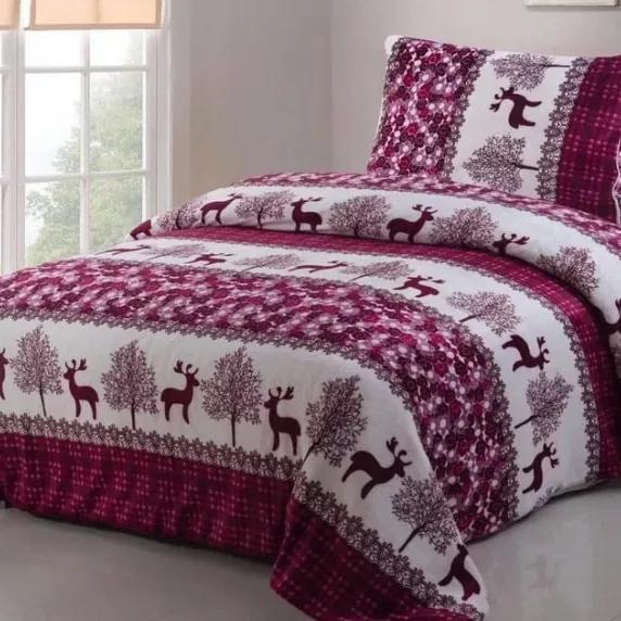 HOD Hebké vianočné mikroplyš obliečky CHRISTMAS fialové 140x200cm vankúš 70x90cm