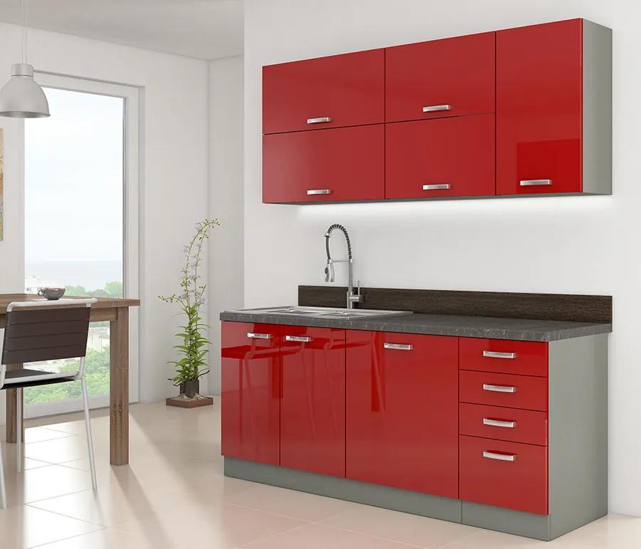 Malá červená kuchynská linka 180 cm HULK