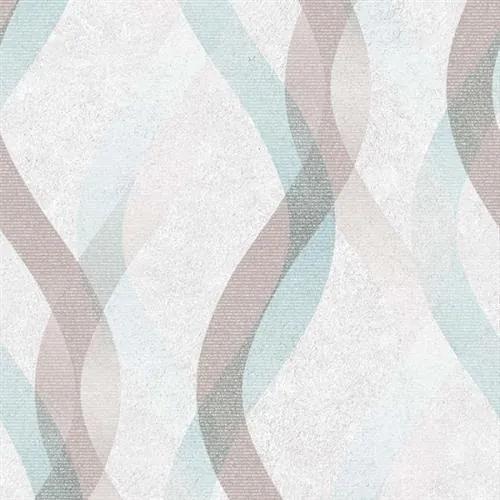 Vliesové tapety na stenu LIVIO 402627, vlnovky hnedo-modré na krémovom podklade, rozmer 10,05 m x 0,53 m, IMPOL TRADE