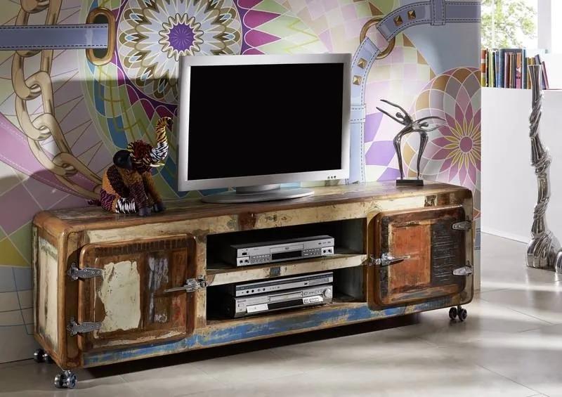 Masiv24 - TESORI TV stolík 180x42 cm, staré drevo