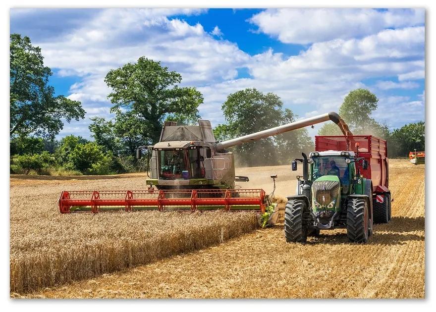 Foto obraz sklo tvrdené Kombajn a traktor pl-osh-100x70-f-89579937