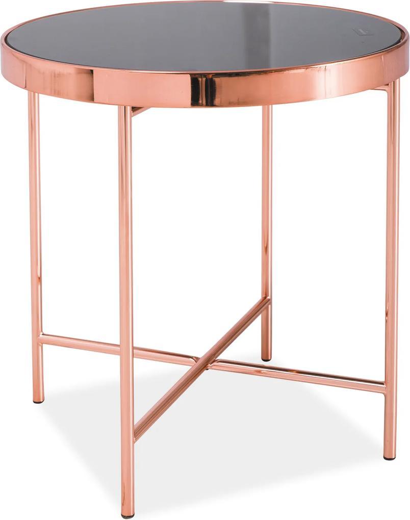 SIGNAL Gina C okrúhly príručný stolík čierna / medená