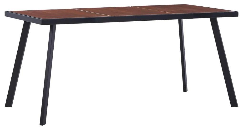 vidaXL Jedálenský stôl, tmavé drevo a čierna 160x80x75 cm, MDF