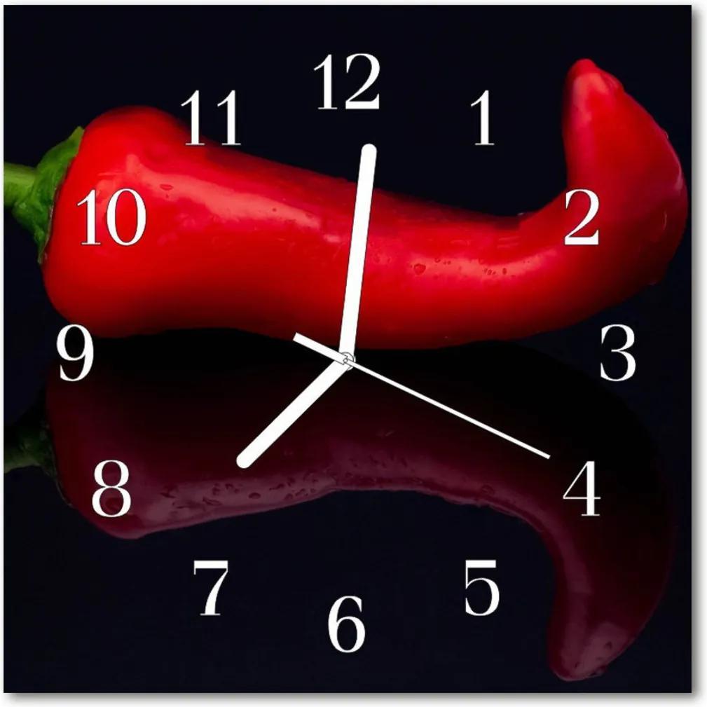 Nástenné skleněné hodiny Chilli pepř
