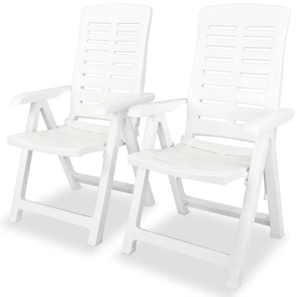 vidaXL Sklápacie záhradné stoličky 2 ks, plast, biele