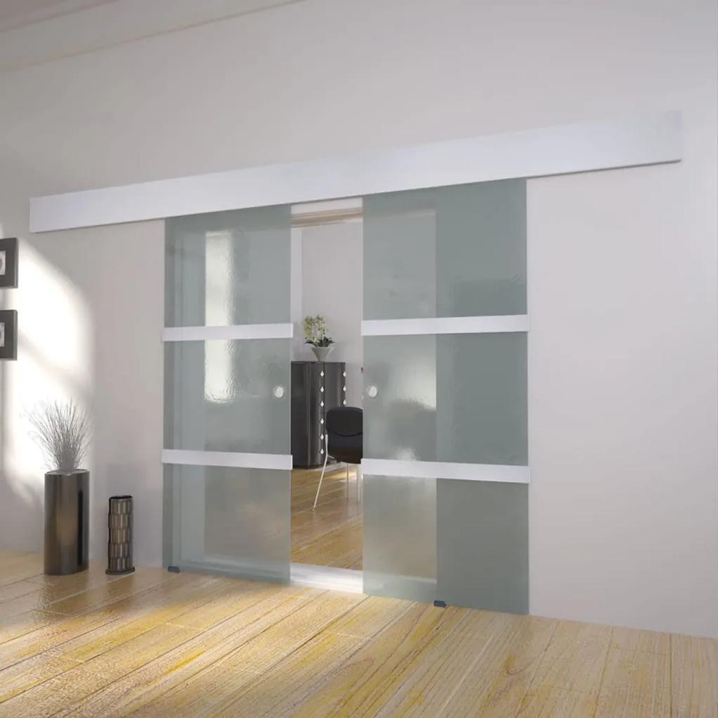 vidaXL Dvojkrídlové sklenené posuvné dvere