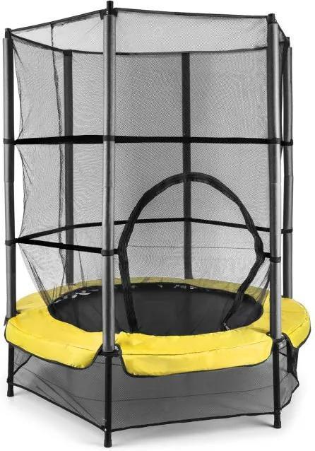 KLARFIT Rocketkid 3, žltá, 140 cm trampolína, bezpečnostná sieť, bungee pružiny