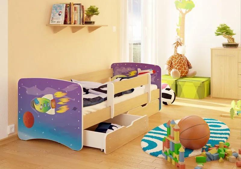 MAXMAX Detská posteľ RAKETA funny 180x90 cm - sa zásuvkou 180x90 pre chlapca ÁNO