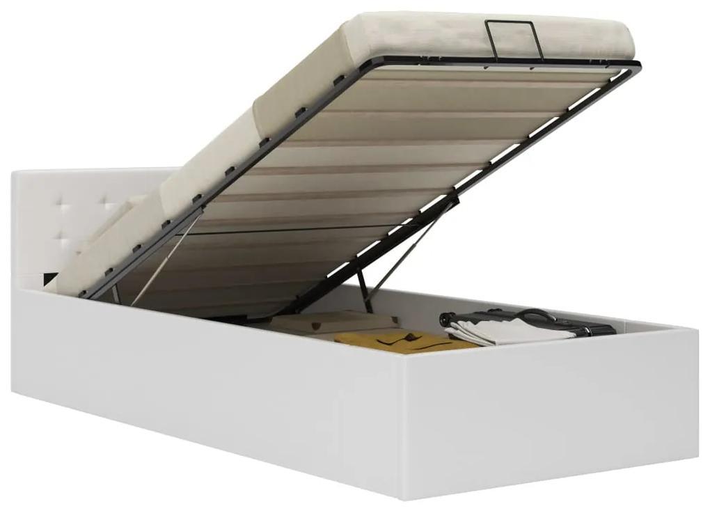 vidaXL Hydraulický posteľný rám+úložný priestor, umelá koža 90x200 cm