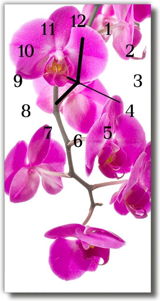 Skleněné hodiny vertikální Květinové růžové orchideje
