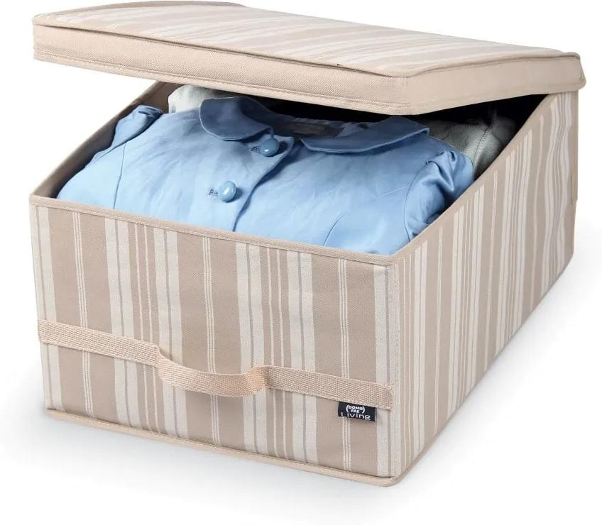 Béžový úložný box Domopak Stripes, dĺžka 50 cm