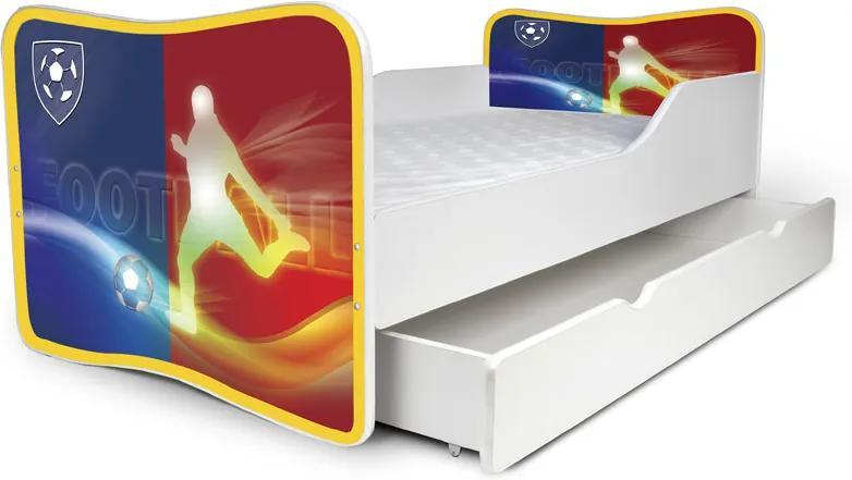 MAXMAX Detská posteľ so zásuvkou FOOTBALL + matrac ZADARMO 180x80 pre chlapca ÁNO