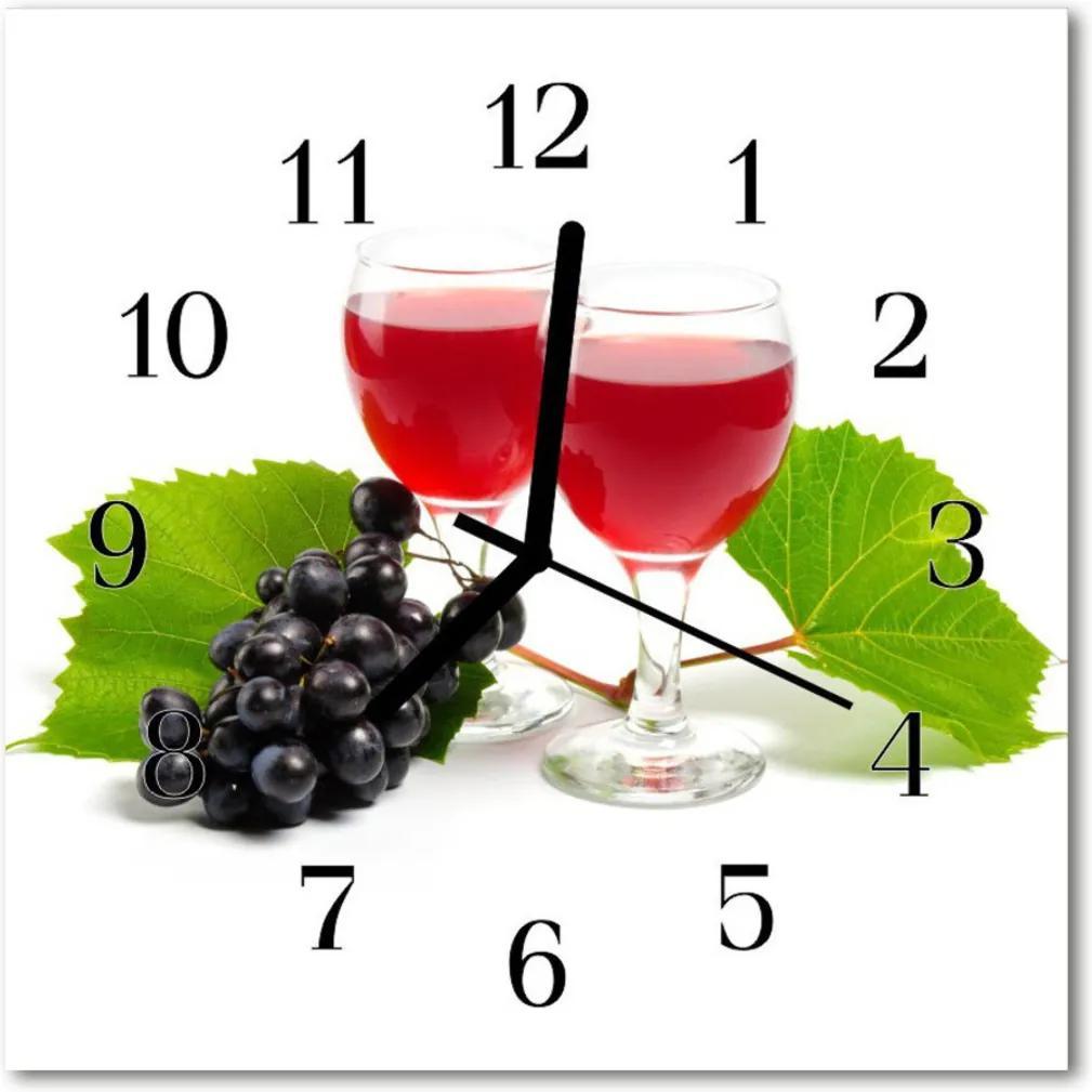 Sklenené hodiny štvorcové  Hrozno pre víno