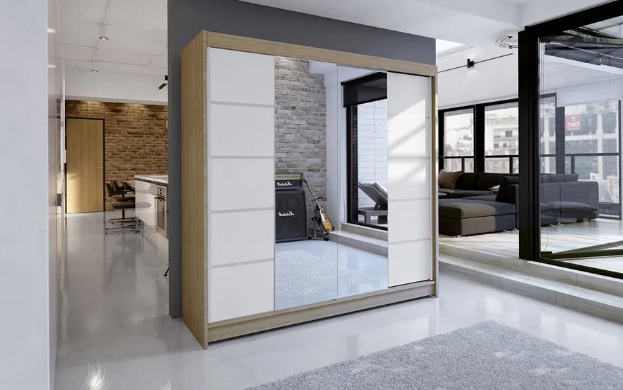 Zrkadlová skriňa Rilian 180 cm dub sonoma/biela