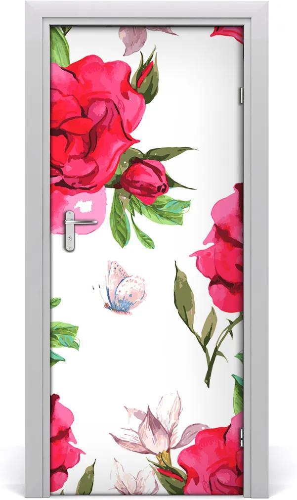 Samolepící fototapeta na dveře Červená růže