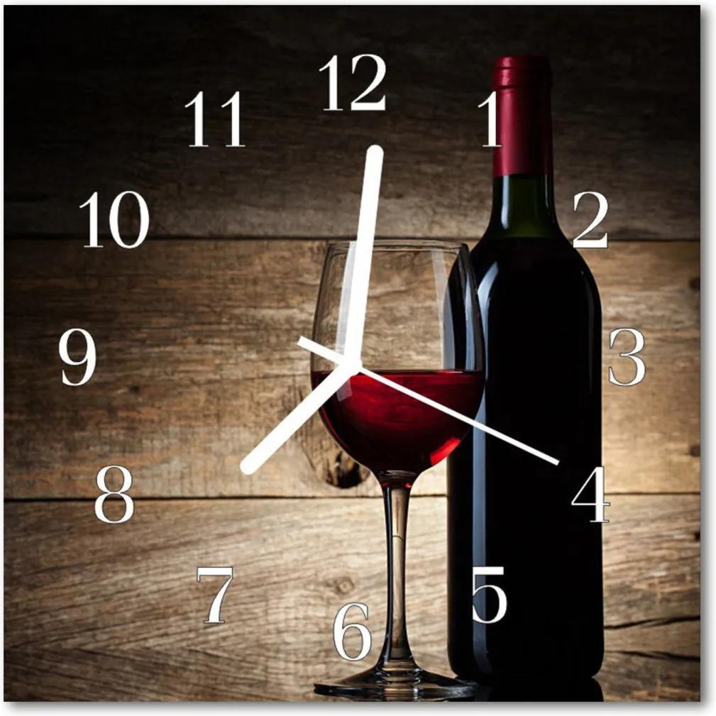 Nástenné skleněné hodiny víno