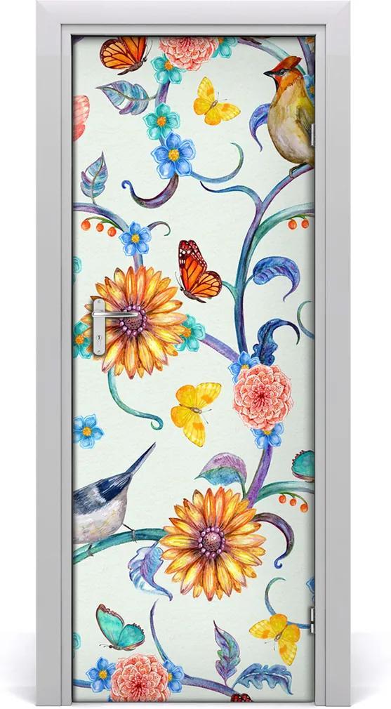 Samolepící fototapeta na dveře Motýli květiny