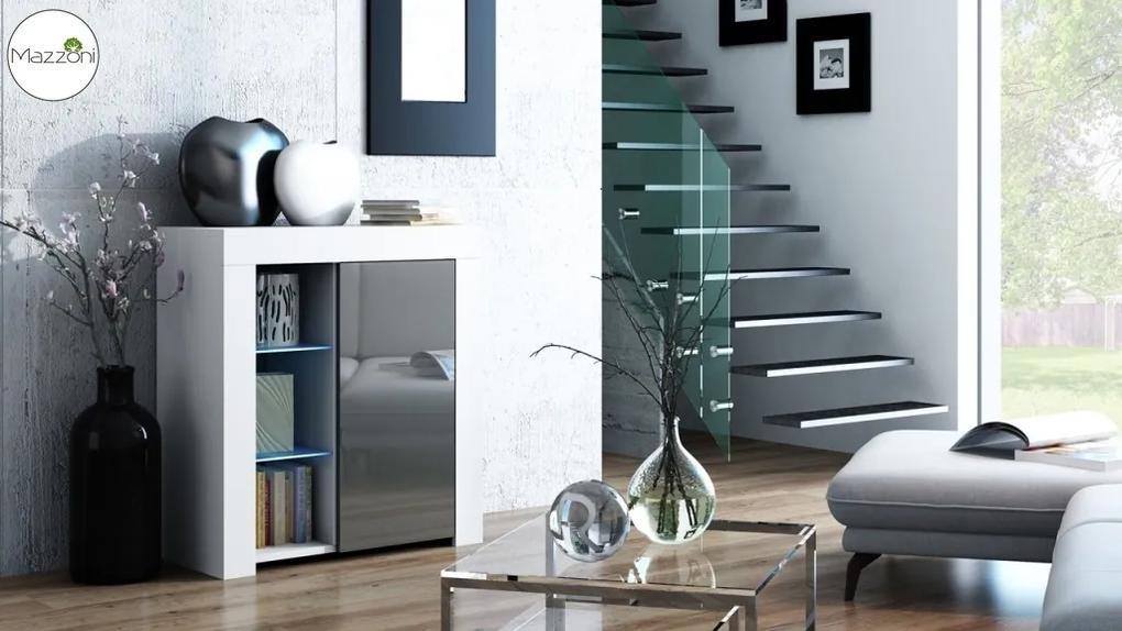 Mazzoni MILA 1D LED skrinka biela / šedý lesk, obývacia izba