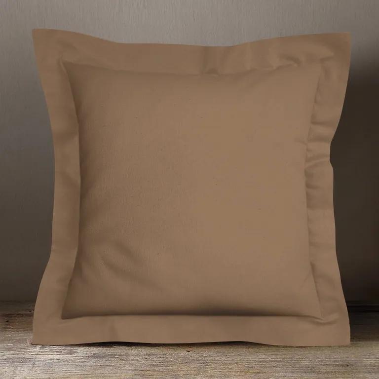 Goldea bavlnená obliečka na vankúš s ozdobným lemom - hnedá 70 x 90 cm