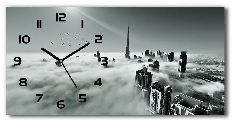 Sklenené hodiny na stenu Hmla nad Dubajom pl_zsp_60x30_f_67144180