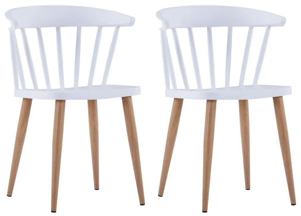 vidaXL Jedálenské stoličky 2 ks biele plastové