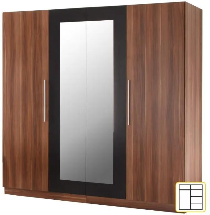 Vešiaková skriňa so zrkadlom MARTINA Tempo Kondela Orech / čierna