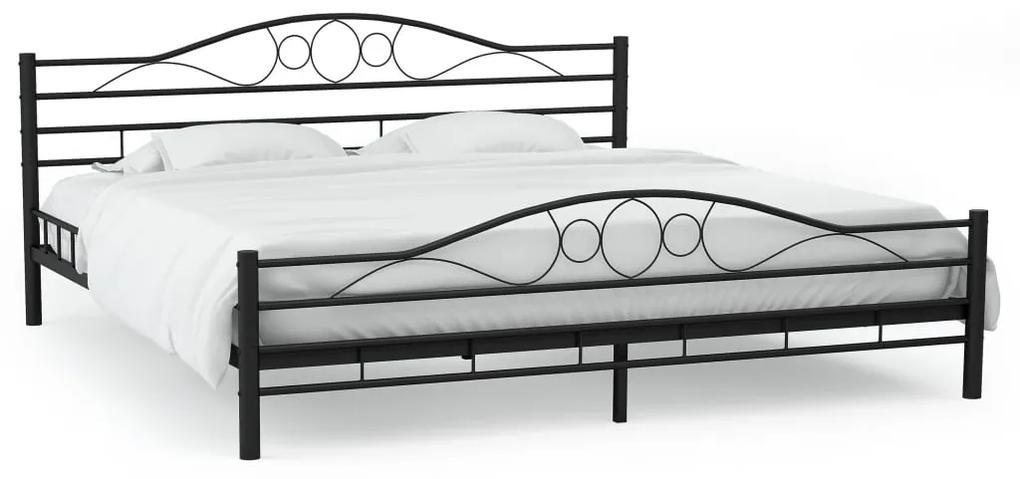 Kovový rám postele s lamelovým roštom 180x200 cm vlnitý dizajn