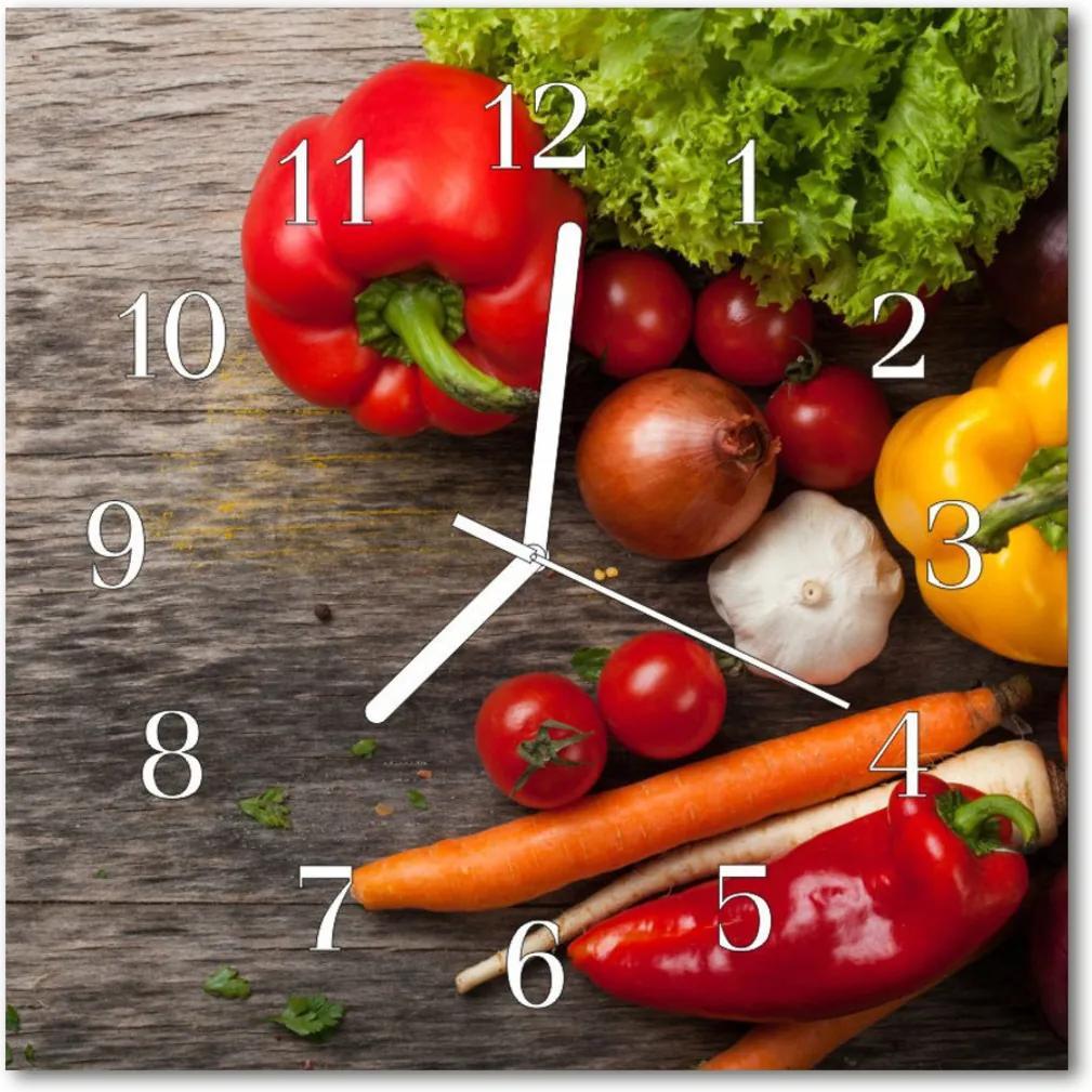 Nástenné skleněné hodiny zeleninový