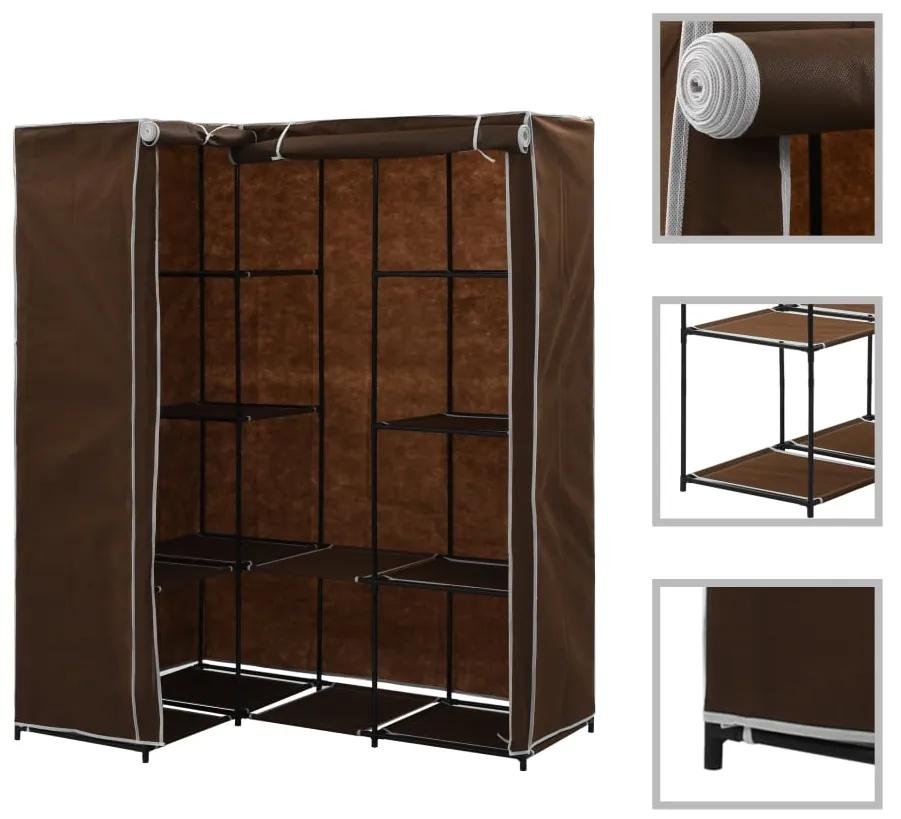 vidaXL Rohový šatník hnedý 130x87x169 cm