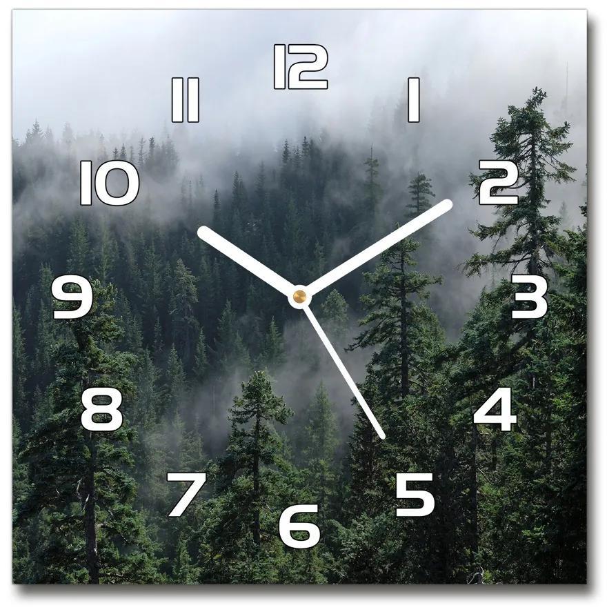 Sklenené hodiny štvorec Lesné hmla pl_zsk_30x30_f_103817714