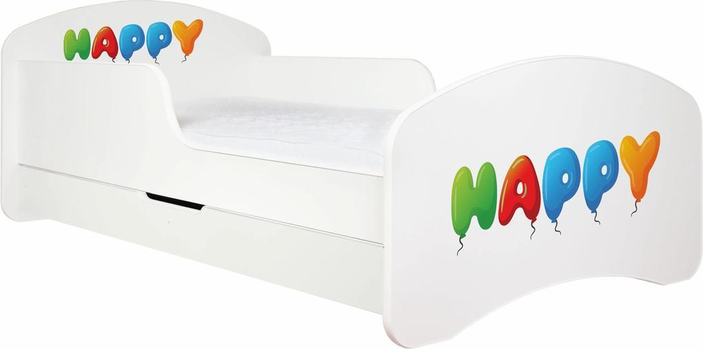 MAXMAX Detská posteľ so zásuvkou 140x70 HAPPY + matrace ZADARMO!