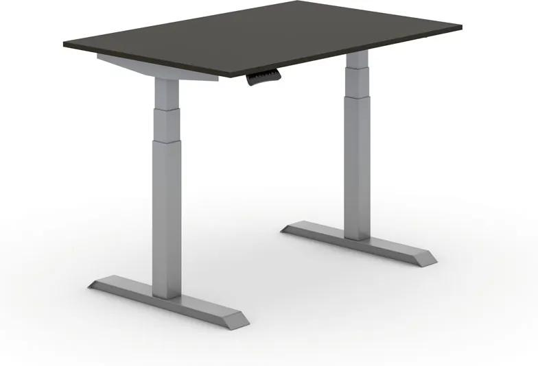 Výškovo nastaviteľný stôl, elektrický, 625-1275 mm, doska 1200x800 mm, wenge, sivá podnož