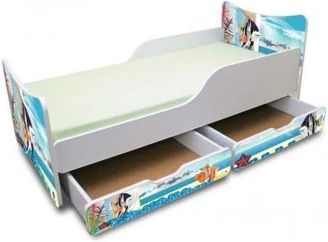 MAXMAX Detská posteľ 160x90 cm so zásuvkou - AKVÁRIUM 160x90 pre všetkých ÁNO