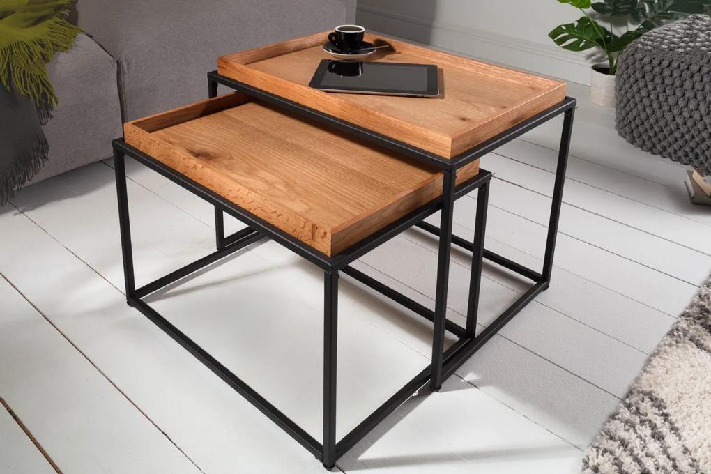 Nemecký výrobca Drevený konferenčný stolík s táckou - masív dub, set 2 ks