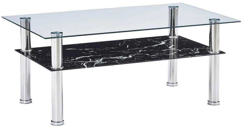 vidaXL Konferenčný stolík s vzhľadom mramoru čierny 100x60x42 cm tvrdené sklo