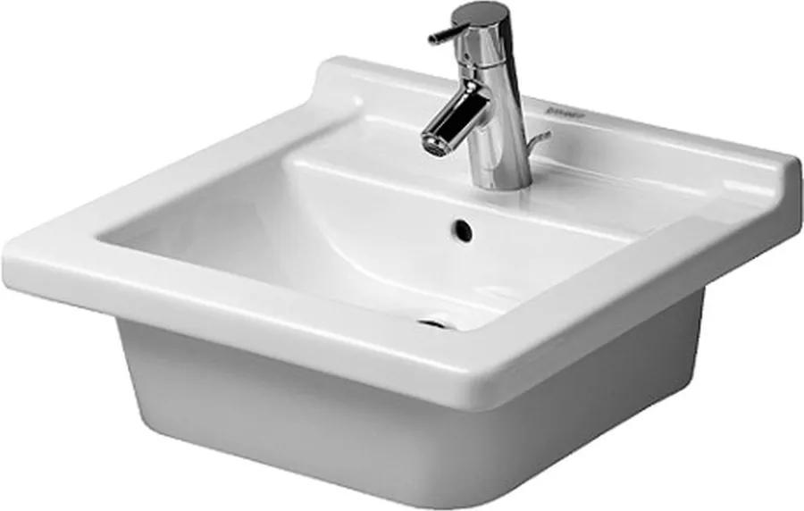 Duravit Starck 3 - Vstavané umývadlo, 1 otvor pre armatúru prepichnutý a ďalšie dva možné, 480 x 465 mm, biele 0303480022