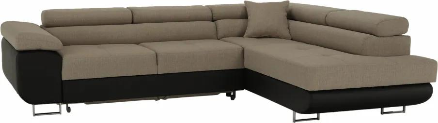 Rohová sedacia súprava, hnedá/béžová, pravá, AMARETO NEW