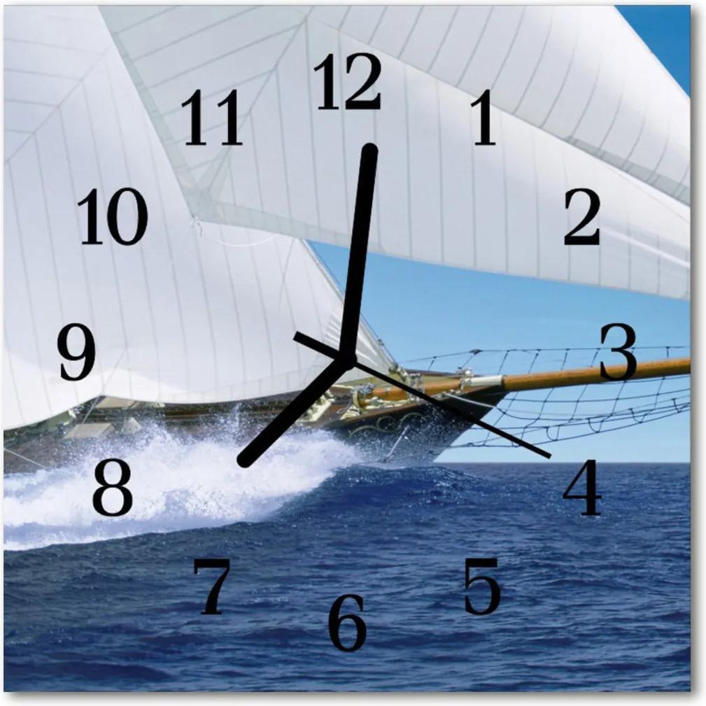 Nástenné skleněné hodiny jachta