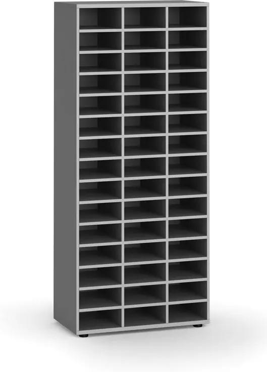 Triediaci regál, 800 x 400 x 1865 mm, 45 priehradiek, sivý