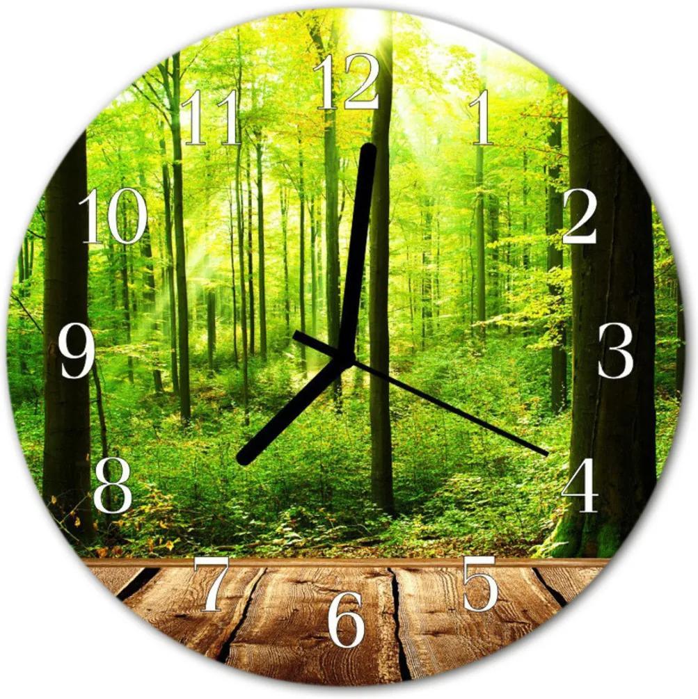 Nástenné skleněné hodiny les