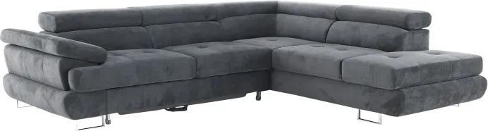 KONDELA Buton R P rohová sedačka s rozkladom a úložným priestorom sivá