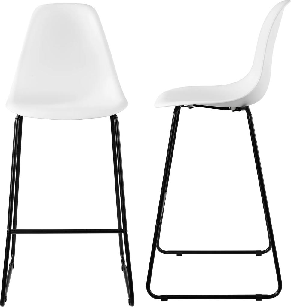37f26f72a78a3 en.casa]® Dizajnové barové stoličky (2 kusová sada) - biele | Biano