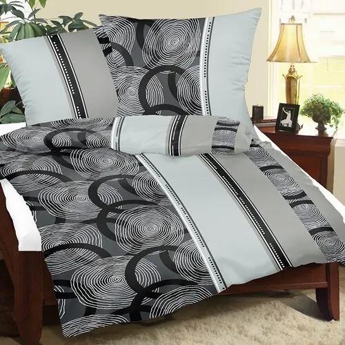 Bellatex Krepové obliečky Špirály sivá, 240 x 220 cm, 2 ks 70 x 90 cm