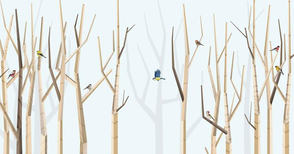 BIG FOREST AND VARIOUS BIRDS – BLUE – 100 x 50