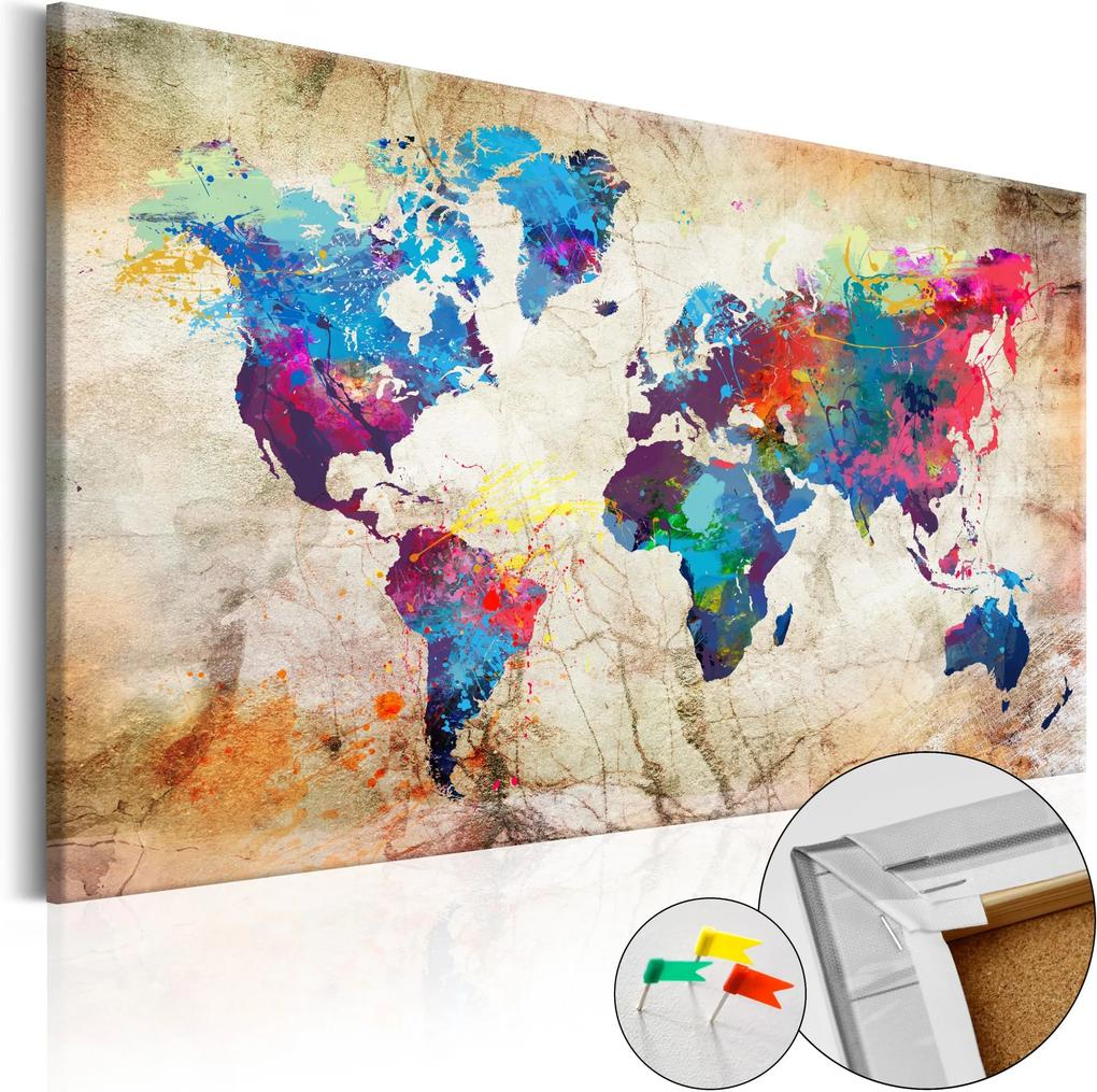 Obraz na korku - World Map: Urban Style  [Cork Map] 120x80