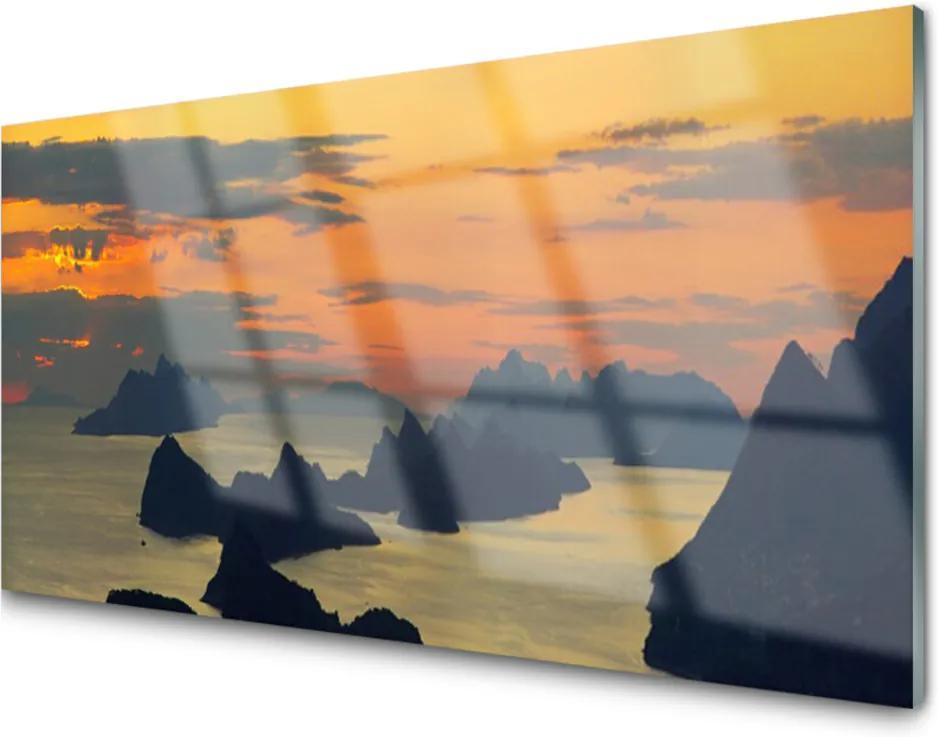Skleněný obraz Moře Skály Hory Krajina